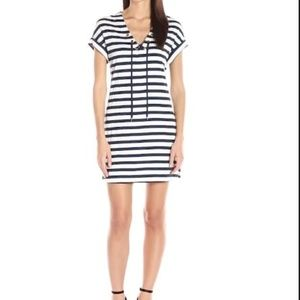 Three Dots 1x1 Striped Tie Front Dress Navy Gray S